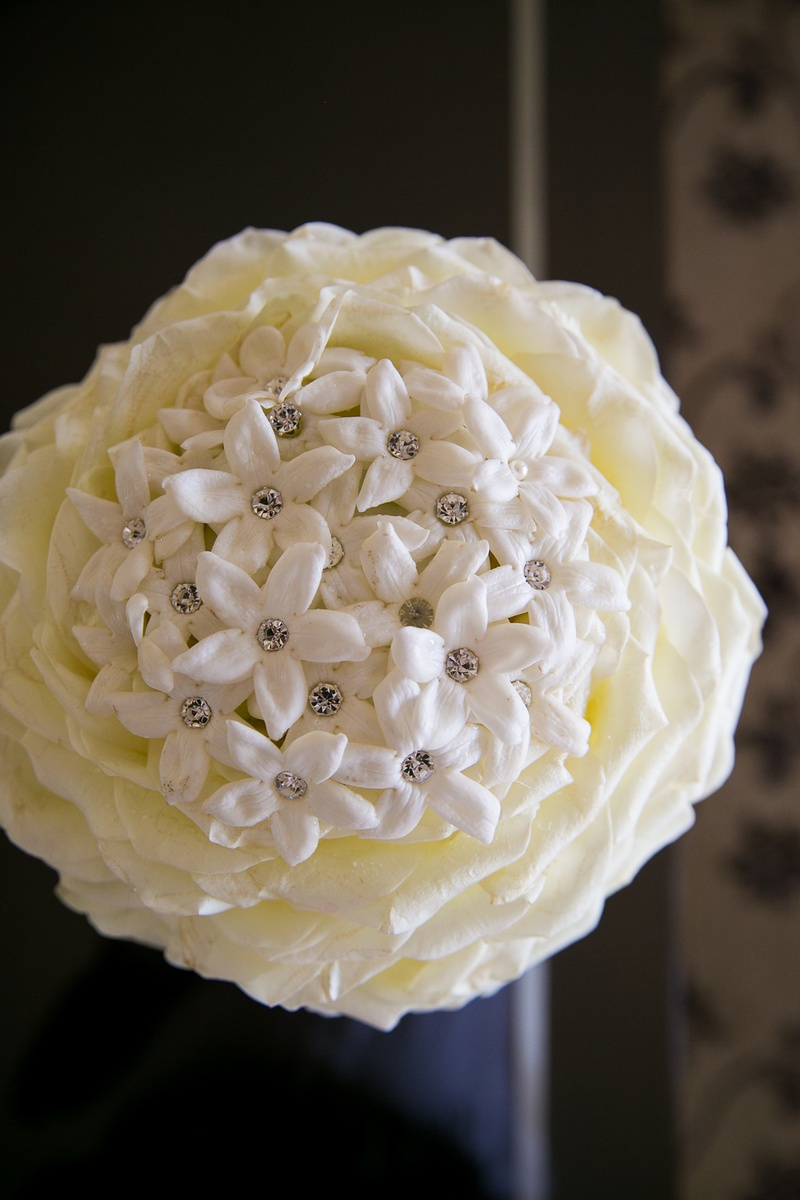 Rose petal glamelia bridal bouquet with stephanotis flowers