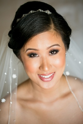 bride with beaded headband, veil with crystals, asian-american bridal makeup