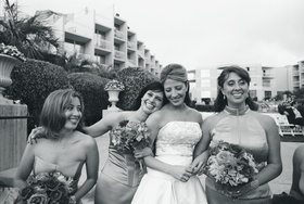 Black and white photo of bridal party