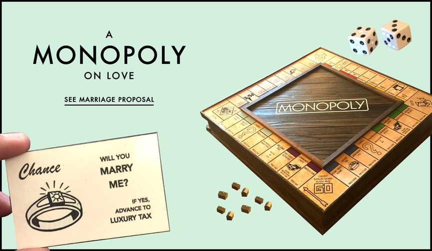 Unique marriage proposal story with Monopoly game board