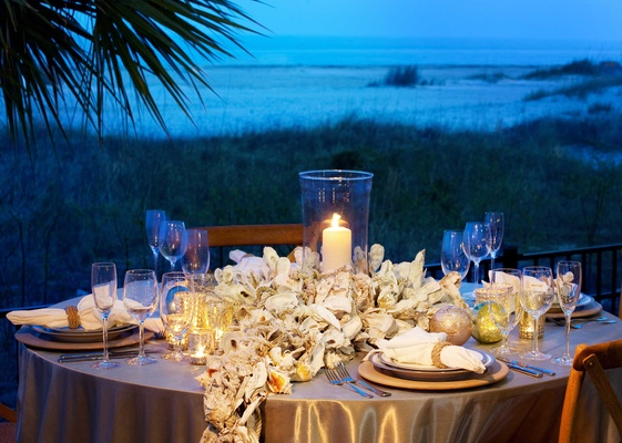 Coastal theme wedding reception on Hilton Head Island