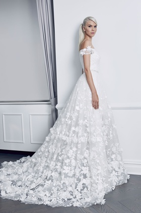 Romona Keveza Fall 2018 bridal collection lace off the shoulder ball gown with flowers