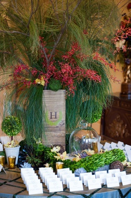 escort card table covered in plants and succulents, rustic reception