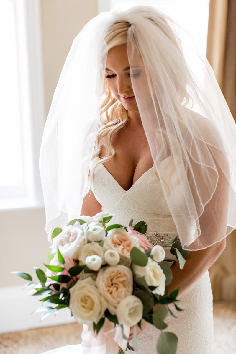 bride in blush by hayley paige, v-neck gown, elbow-length veil