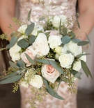 Pink rose, white rose, ivory rose wedding bridesmaid bouquet with greenery and olive leaves
