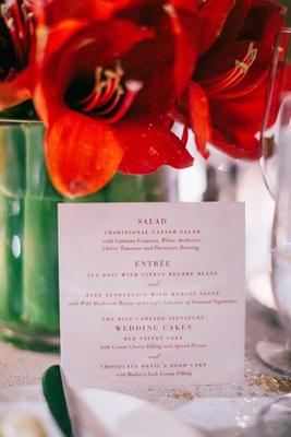 wedding reception red white menu card salad course caesar salad, entree wedding cakes