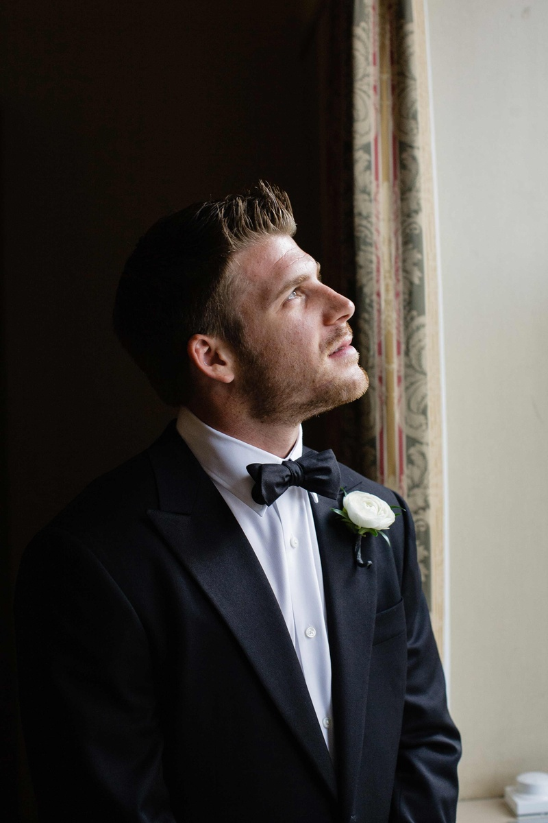 Brett Sterling hockey player with bow tie and boutonniere