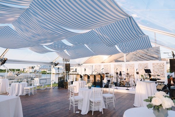 waterfront tent wedding white and blue decorations striped awning shade for clear top tent live band