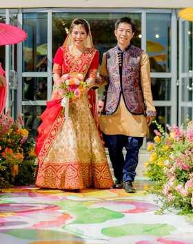 wedding ceremony vinyl floor aisle flower print japanese indian wedding ceremony processional