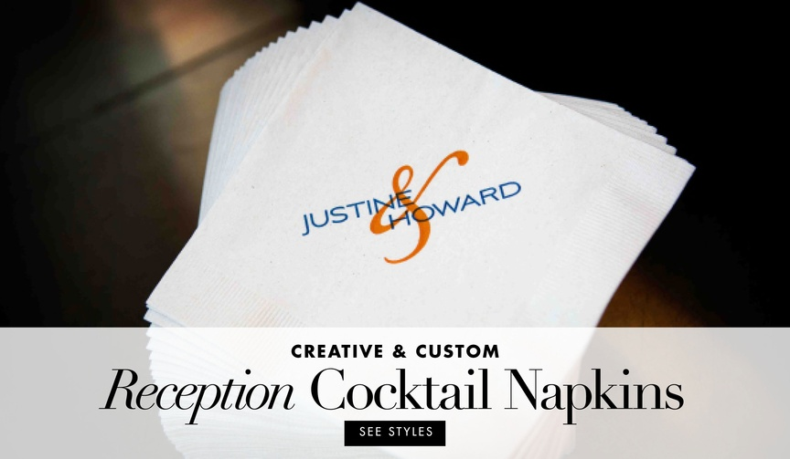 personalized napkins for wedding cocktail hour and reception