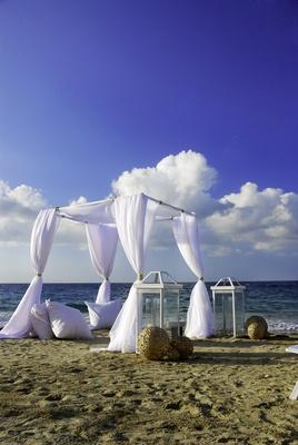 Wedding ceremony on beach at W Retreat & Spa, Vieques Island.