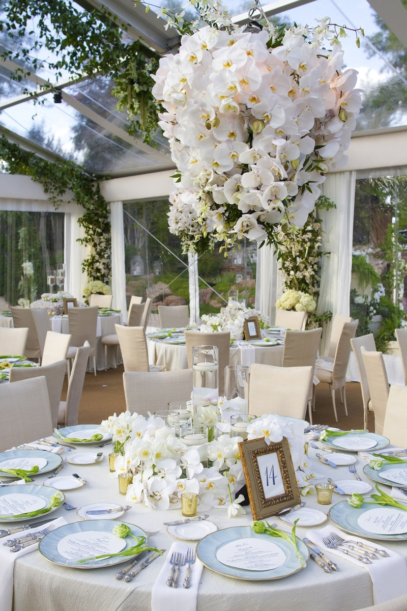 wedding destinations in new jersey%0A     Ivory linens with light blue wedding plates and orchid centerpiece