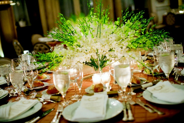 Wedding reception centerpiece of white orchids