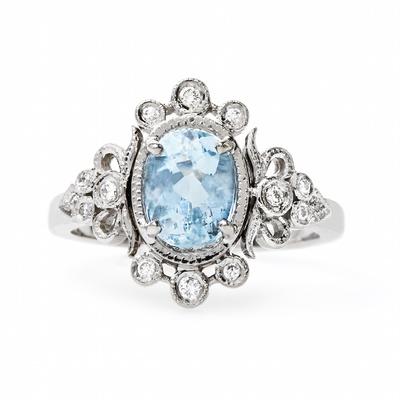 Claire Pettibone x Trumpet & Horn Sophie engagement ring with aquamarine