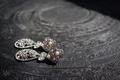 Teardrop shape diamond earrings with pearls