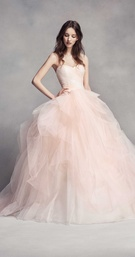 WHITE by Vera Wang fall 2016 wedding dress tulle ball gown in light pink blush strapless neckline
