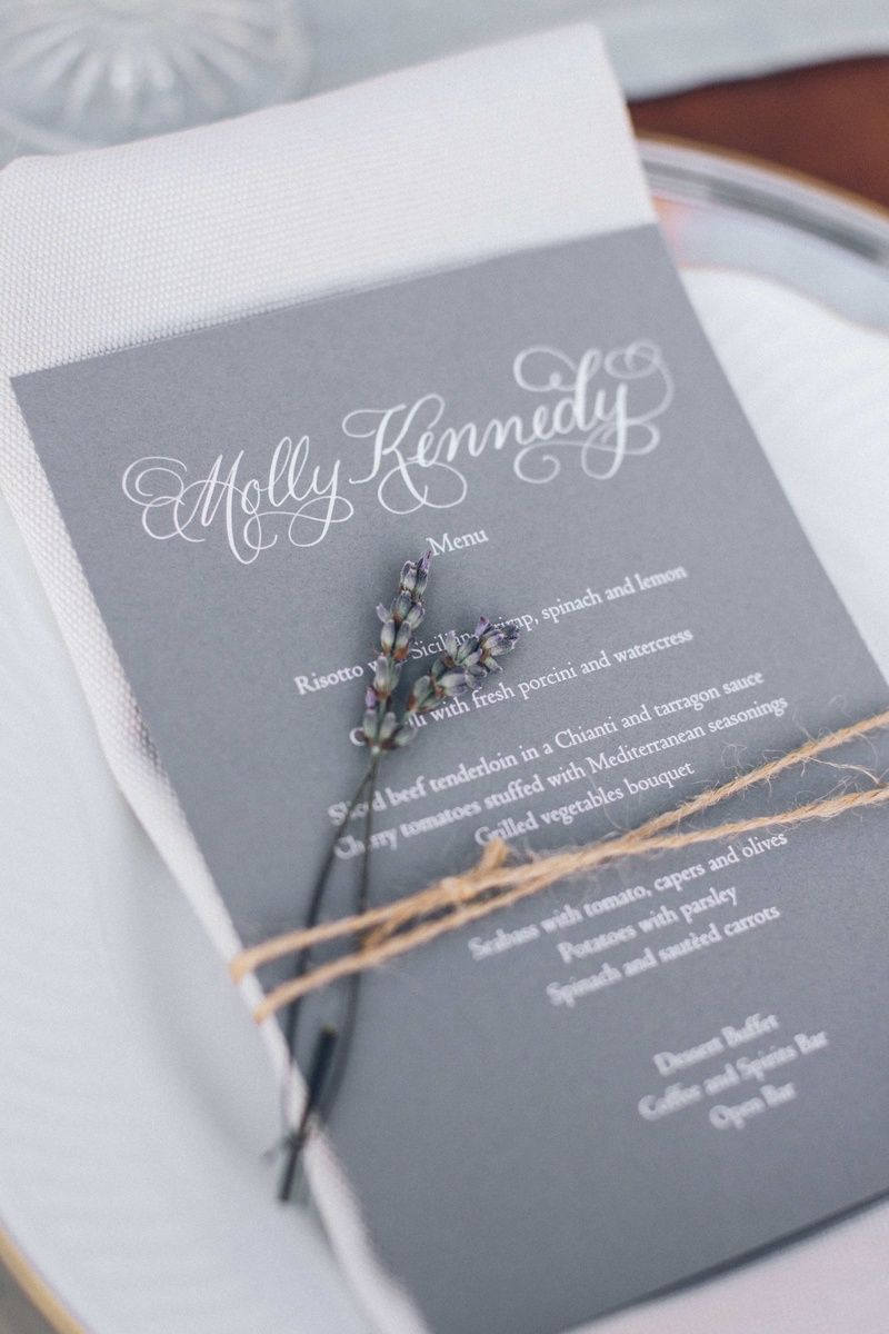 Invitations & More Photos - Gray Lavender Menu - Inside Weddings