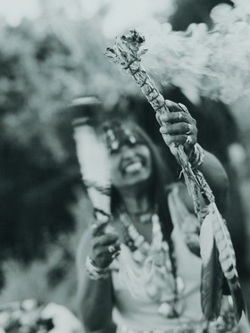 Black and white photo of Indian tribe leader