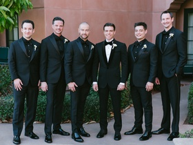 wedding portrait matthew lawrence with groomsmen including ben savage, andy lawrence, joey lawrence