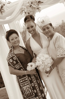 Black and white photo of mother-of-the-bride