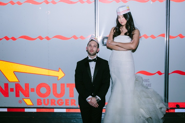 In-N-Out Burger food truck  at wedding reception bride in n out hat