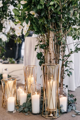 wedding ceremony arch greenery white flowers tree trunk branches white pillar candles gold candle