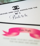 Black and white marriage and love advice game gard with Chanel logo
