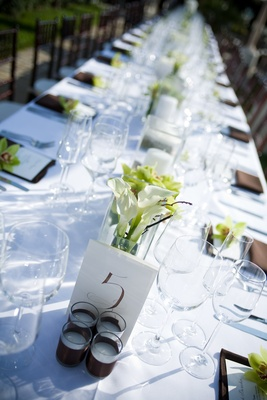 Outdoor wedding tablescape with simple details