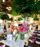 Ballroom wedding with palm tree centerpieces and orchids