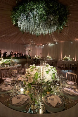 Wedding reception flower chandelier round mirror table low centerpiece candles chinoiserie plate