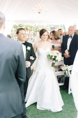 bride's dad escorting down aisle tented south carolina wedding historic estate sleek dress