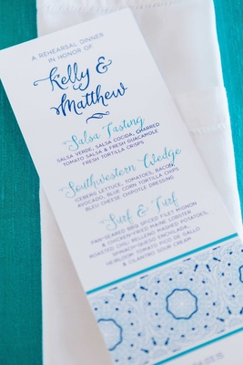 detriot lions quarterback matthew stafford rehearsal dinner decor kelly hall tex-mex blue menu