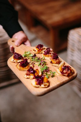 Butternut Squash Puree Green Bacon Crostini rustic wedding event food styled delicious appetizers