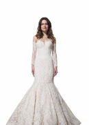 Lace trumpet Anya gown with sleeves by Olia Zavozina Fall 2016