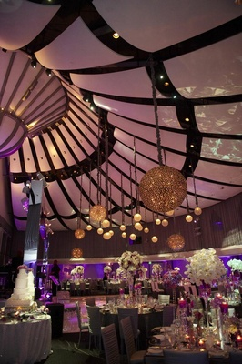 Skirball Cultural Center ceiling with globe lanterns
