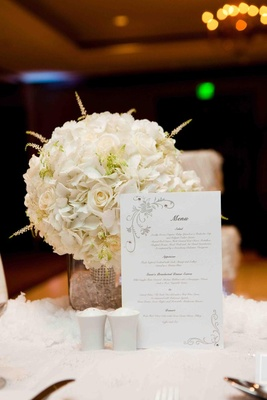 White menu card with grey motif and crystals
