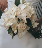 bouquet of roses white flowers and greenery