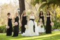 Black bridesmaid dresses and flower girl dress