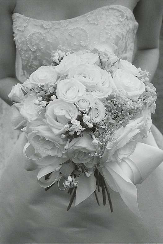 Black and white image of bridal bouquet