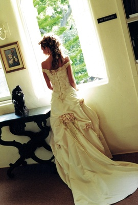 Back of wedding dress with corset bodice and roses