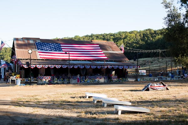 Countryside barn decorated with American flag