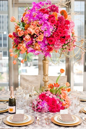 jewel-tone floral arrangement fall wedding styled shoot orchids roses tulips high low