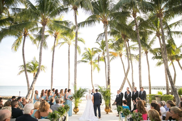 Wedding ceremony outdoors destination wedding on the beach Key West, Florida beach ceremony