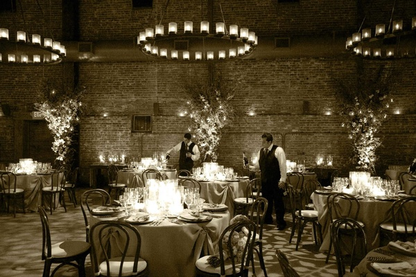 Sepia tone photo of wine cellar wedding reception