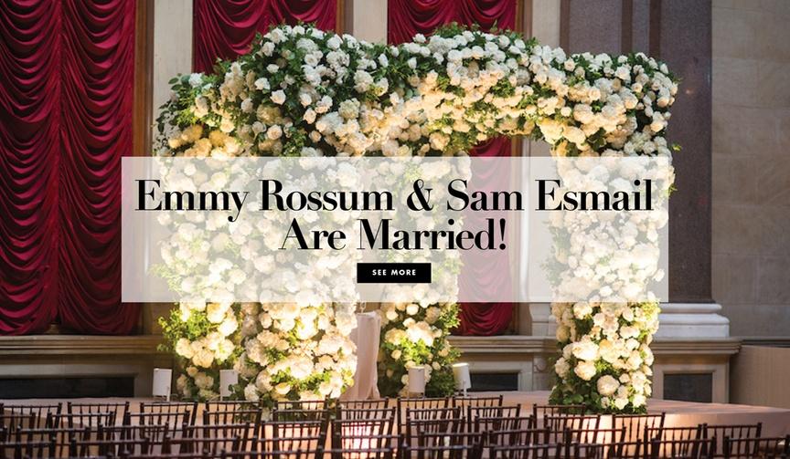 emmy rossum and sam esmail wedding shameless and mr. robot, carolina herrera custom wedding dress