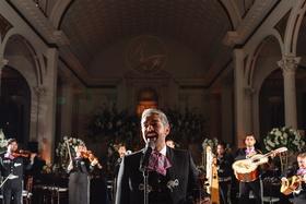 Archoiris LGBTQ mariachi group performing at same-sex wedding at vibiana in los angeles