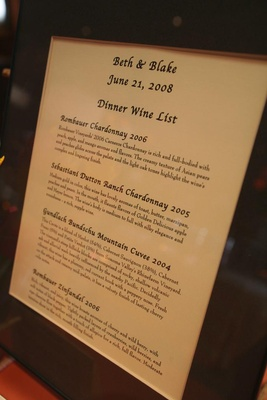 Wine descriptions in a brown frame on display