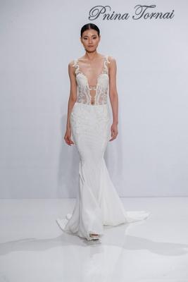 Pnina Tornai for Kleinfeld 2017 Dimensions Collection plunging v neck wedding dress crepe skirt