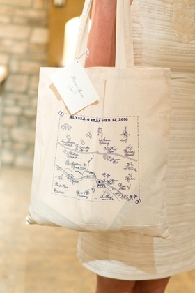 Tote bag favor with custom Malibu map