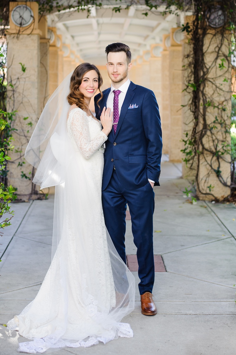 Couples Photos - Bride in Lace Gown with Groom in Blue Suit ...